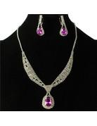Tie It Down Rhinestone Necklace Set - Purple