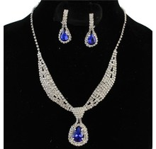 Tie It Down Rhinestone Necklace Set - Royal Blue