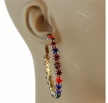 Studded Out Rhinestone Hoops 50mm - Multi