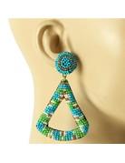 Tamborine Beaded Earrings - Blue