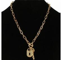Lock N Key Necklace - Gold