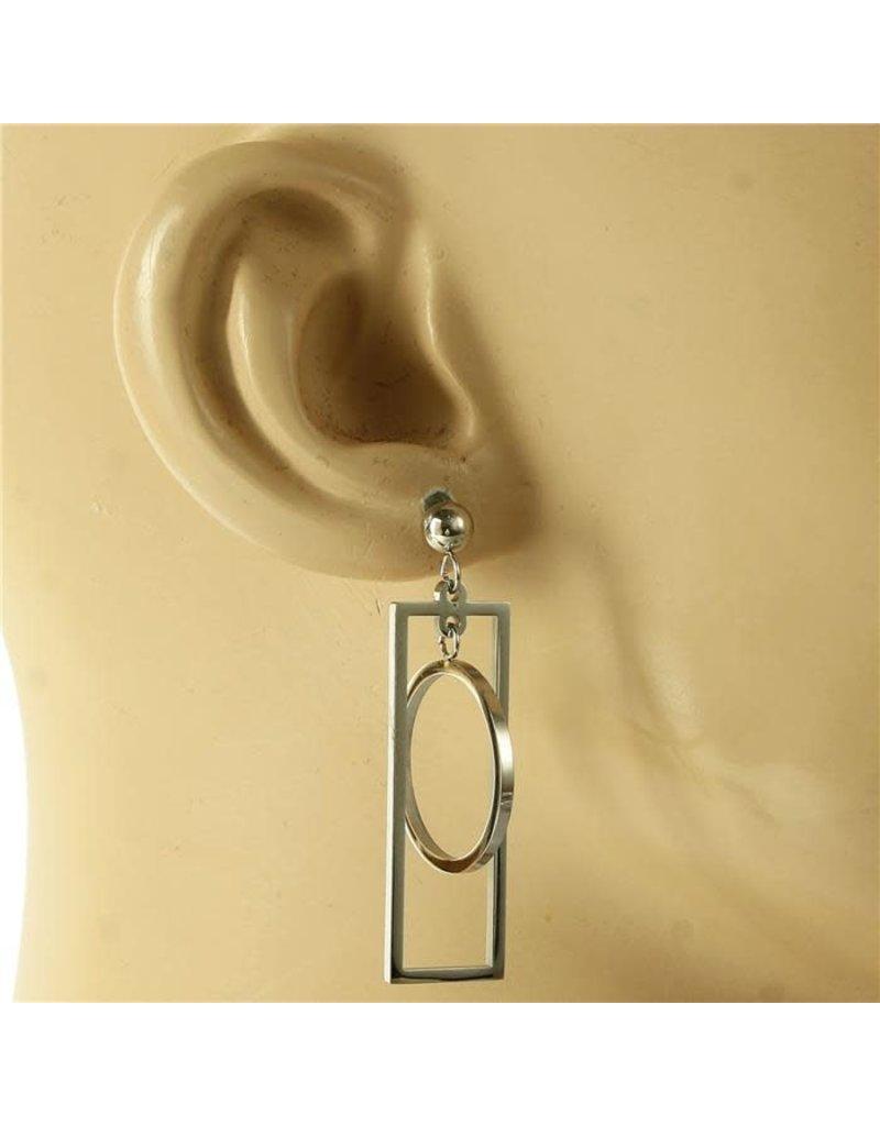 Boxed Ball Earrings - Silver