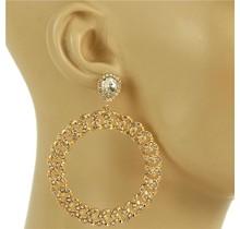 Spinning Wheel Rhinestone Earrings - Gold