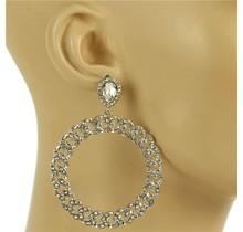Spinning Wheel Rhinestone Earrings - Silver