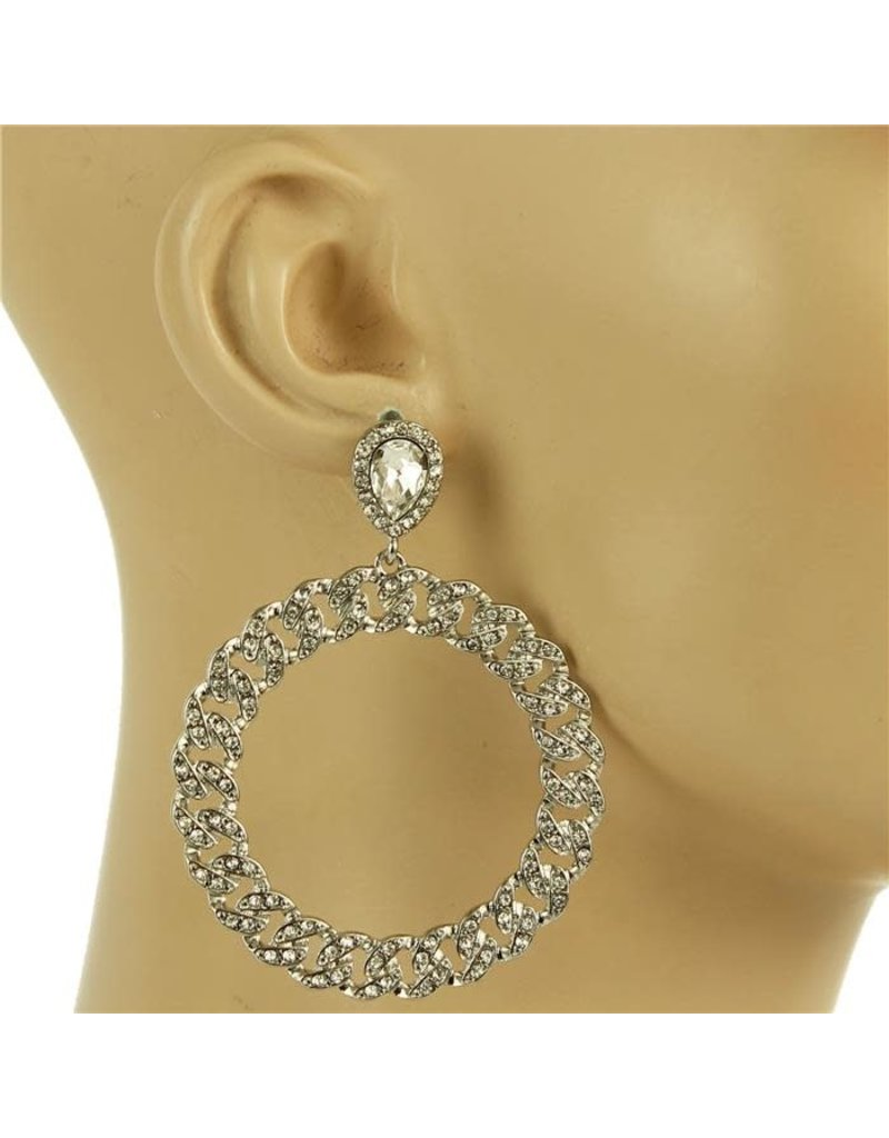 Spinning Wheel Rhinestone Earrings - Silver