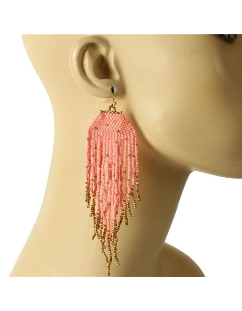 Siesta Fiesta Beaded Earrings - Pink