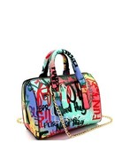 Graffiti Talk Handbag - Purple