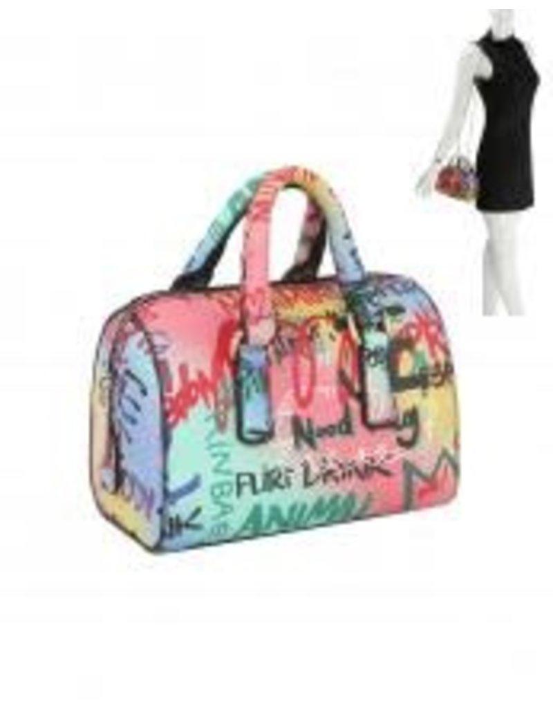 Graffiti Talk Handbag - Aqua