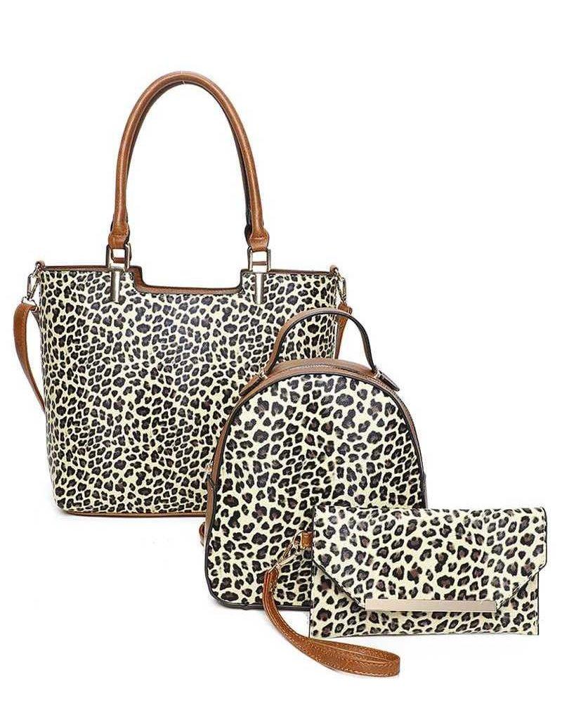 Cheetah Smiles 3 Pc Handbag Set - Brown