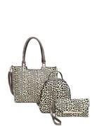 Cheetah Smiles 3 Pc Handbag Set - Coffee
