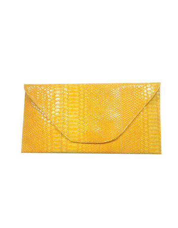 Back Again Snakeskin Clutch -  Yellow