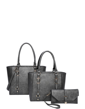 Always Ready 3 Pc Handbag set - Pewter
