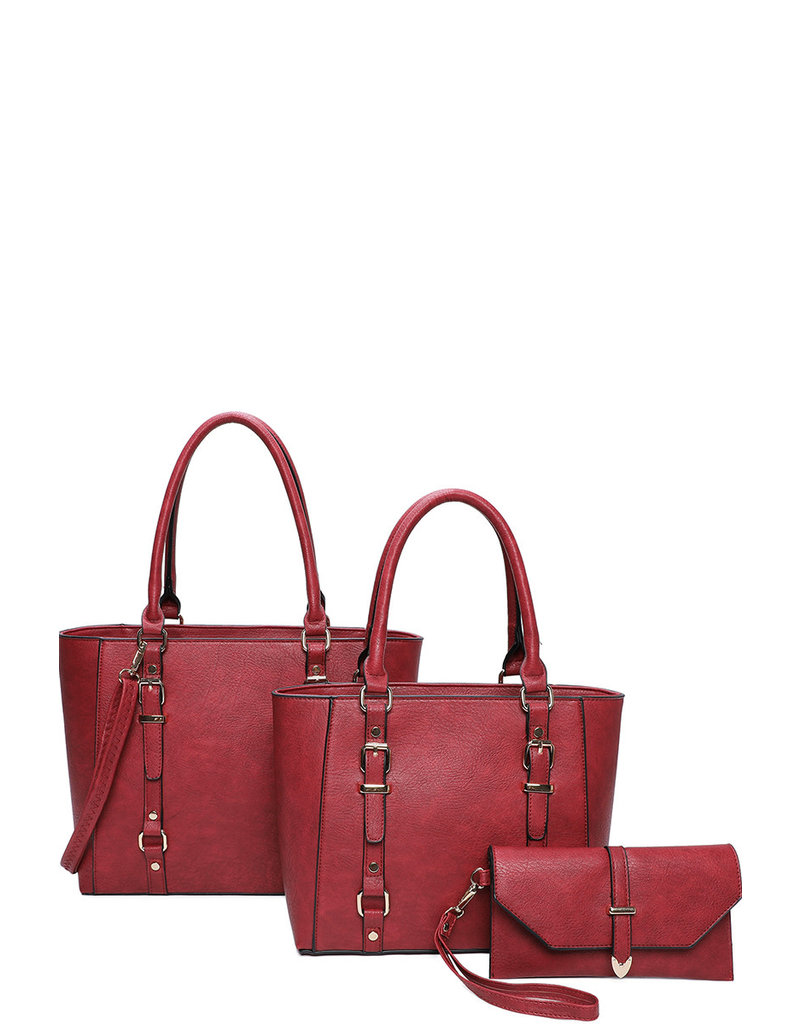 Always Ready 3 Pc Handbag set - Burgundy
