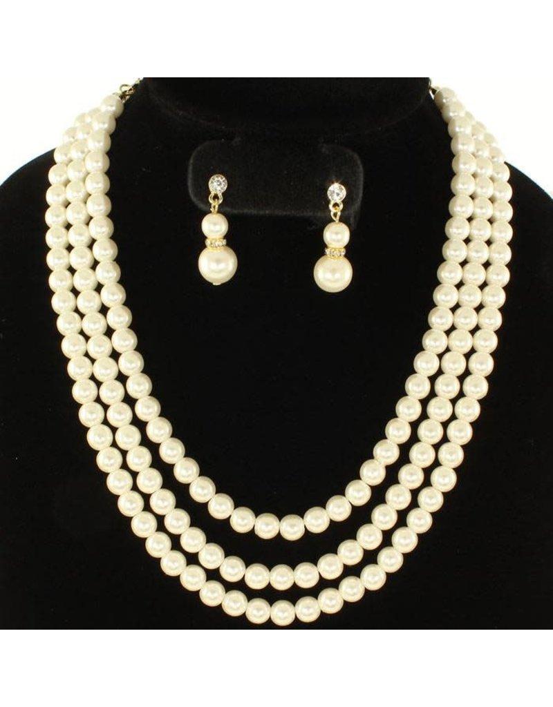 Three Strand Classy Pearl Necklace Set