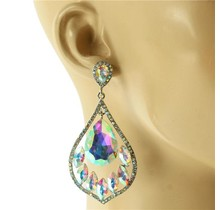 Lights On Earrings - Silver Iridescent