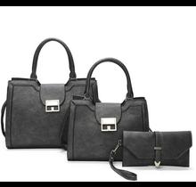 All Time Favorite 3 Pc Handbag Set - Pewter