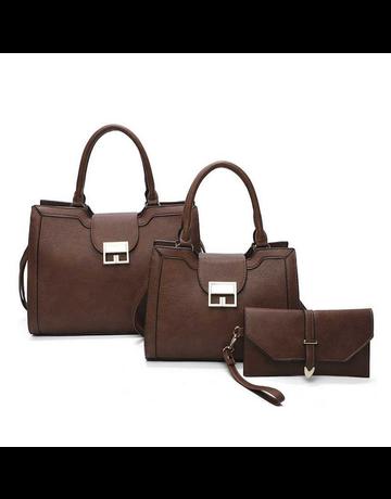 All Time Favorite 3 Pc Handbag Set - Brown