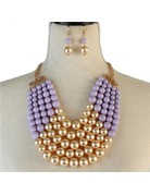 Pretty In Pearls Necklace Set - Lavender