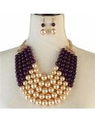 Pretty In Pearls Necklace Set - Purple