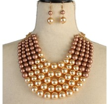 Pretty In Pearls Necklace Set - Rose Gold