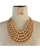 Pretty In Pearls Necklace Set - Cream