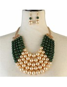 Pretty In Pearls Necklace Set - Green