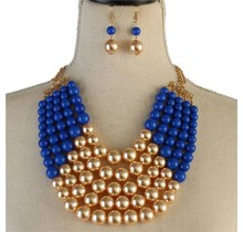Pretty In Pearls Necklace Set - Royal Blue