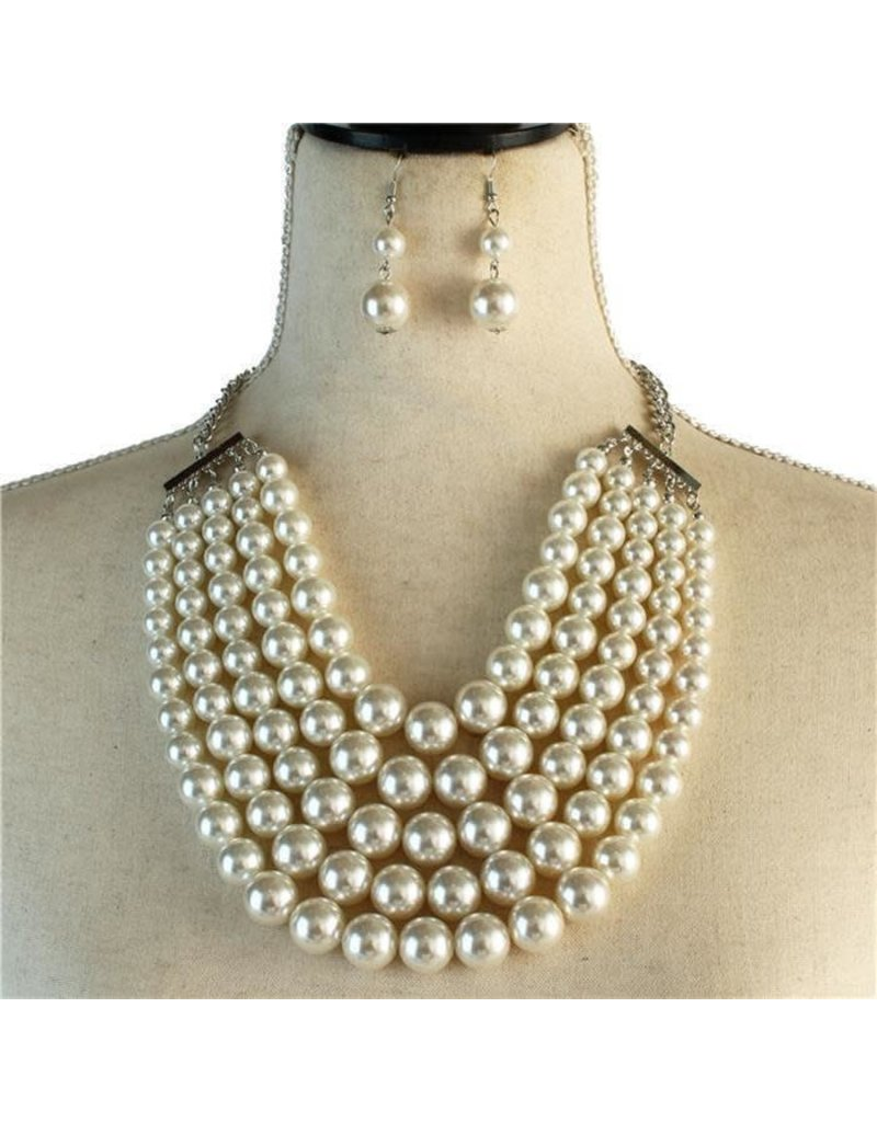 Pretty In Pearls Necklace Set - White
