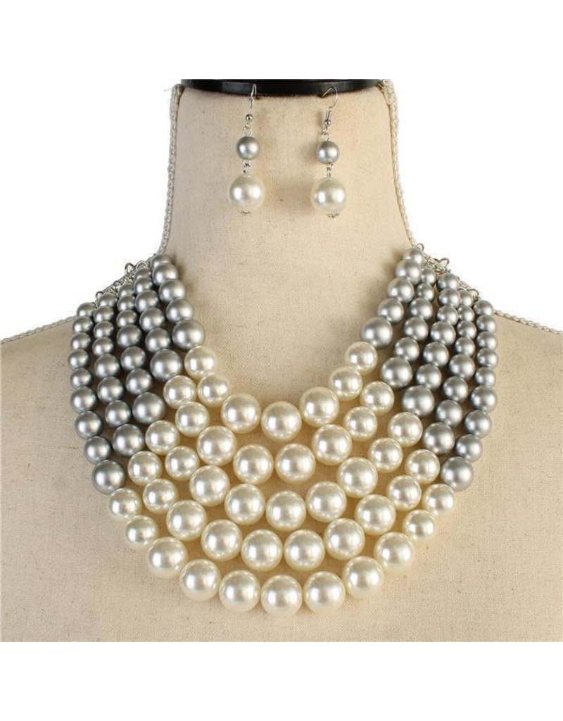 Pretty In Pearls Necklace Set - White/Silver