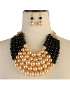 Pretty In Pearls Necklace Set - Black