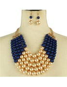 Pretty In Pearls Necklace Set - Navy