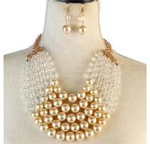 Pretty In Pearls Necklace Set - Clear