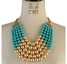 Pretty In Pearls Necklace Set - Turquoise