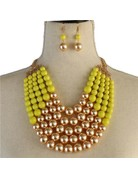Pretty In Pearls Necklace Set - Yellow