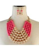 Pretty In Pearls Necklace Set - Fuchsia