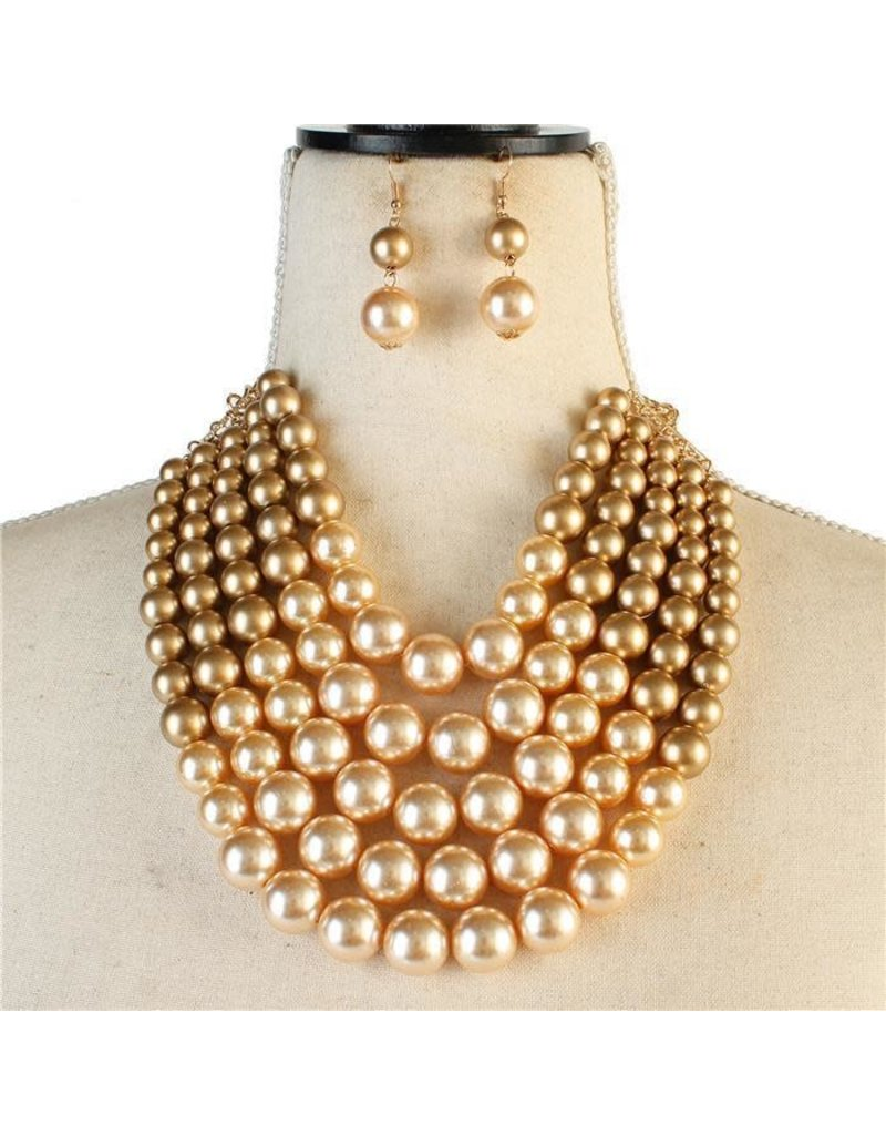 Pretty In Pearls Necklace Set - Gold