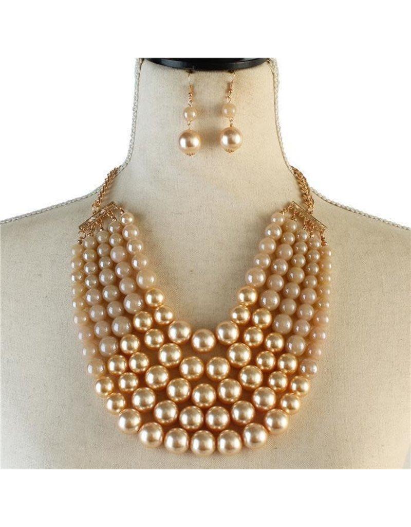 Pretty In Pearls Necklae Set - Ivory