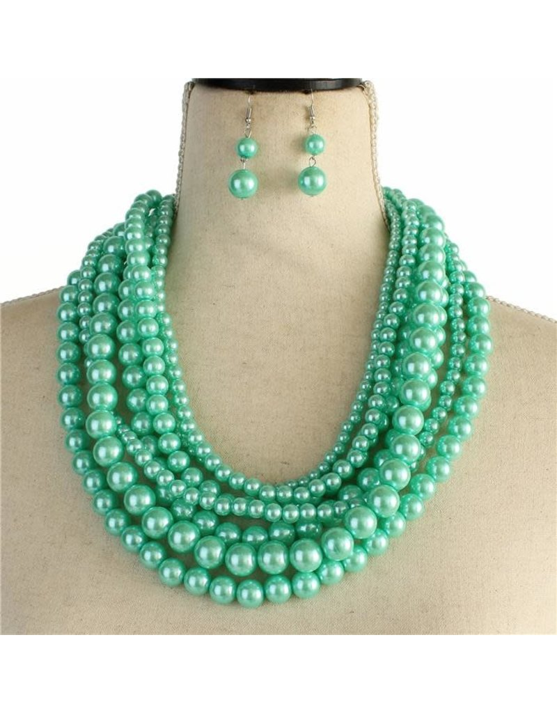 Layered Beauty Pearl Necklace Set - Mint