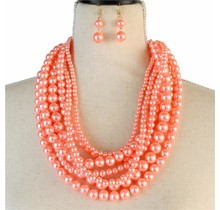 Layered Beauty Pearl Necklace Set - Peach