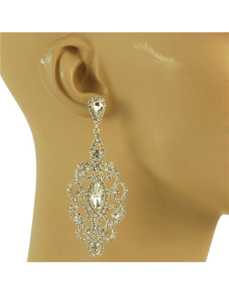 Wedding Day Rhinestone Earrings - Silver