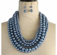 Layered Beauty Pearl Necklace Set - Purple