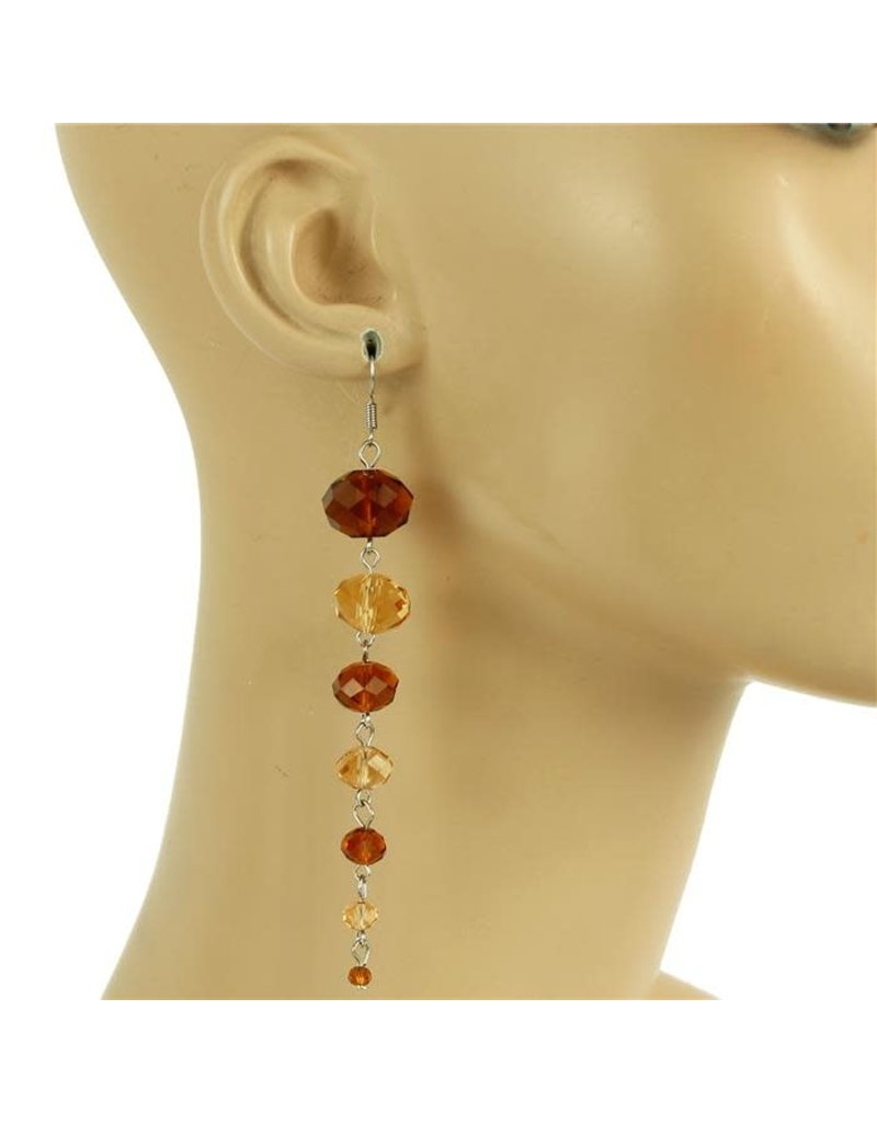 All Beaded Down Earring - Brown/Gold