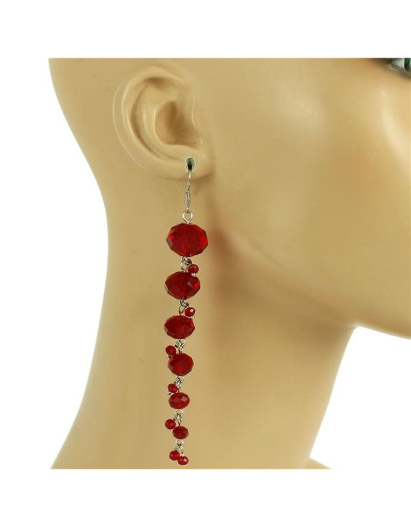 All Beaded Down Earring - Red