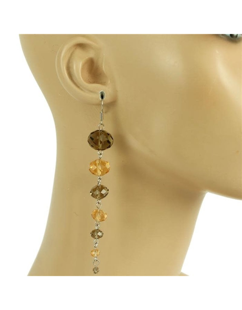 All Beaded Down Earring - Brown/Topaz