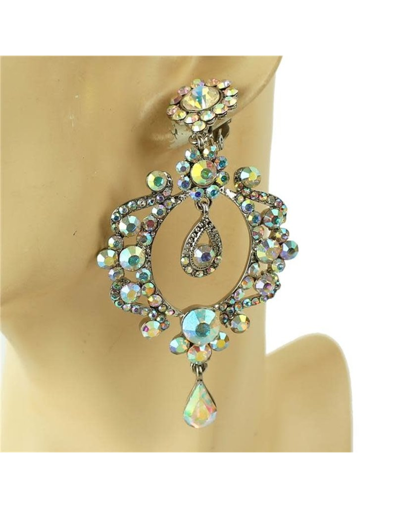 Big Bling Clip On Earrings - Silver Iridescent