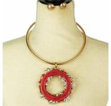 Worth The Wait Necklace Set - Fuchsia