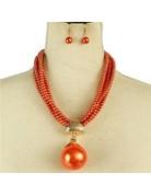 Make The Drop Pearl Necklace Set - Orange
