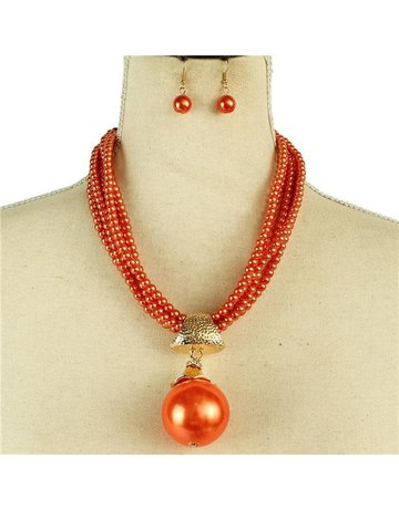 Make The Drop Pearl Necklace Set - Orange