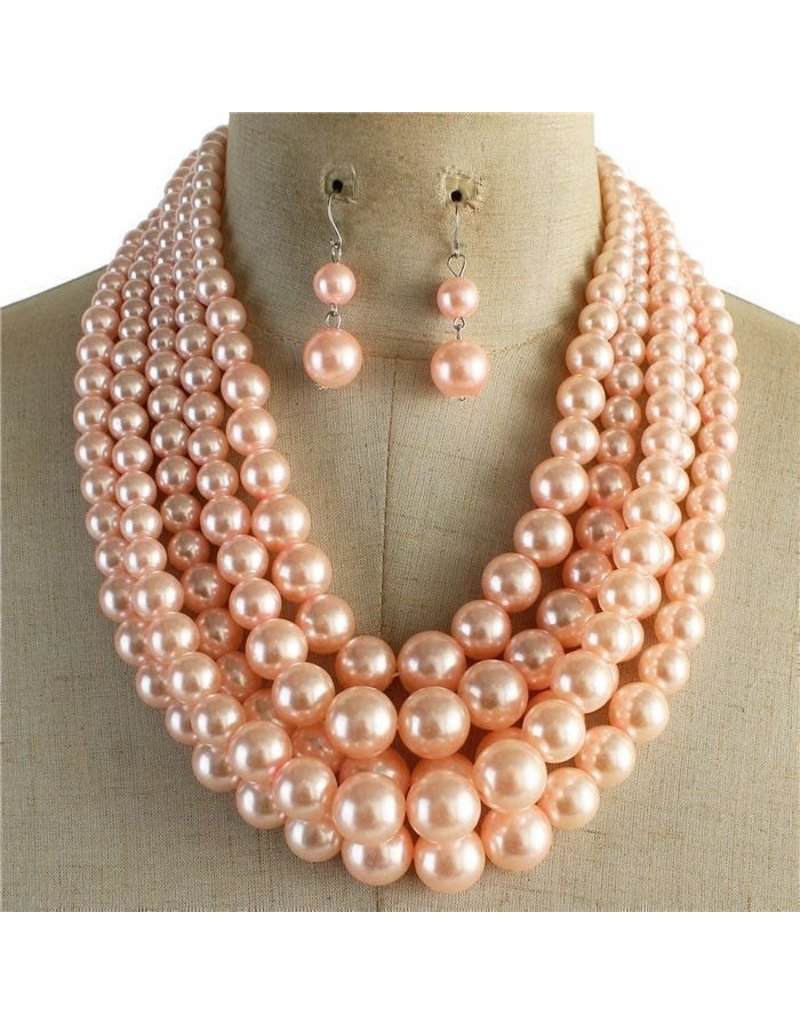 Always Busy Pearl Necklace Set - Light Pink