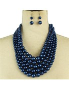 Always Busy Pearl Necklace Set - Royal Blue